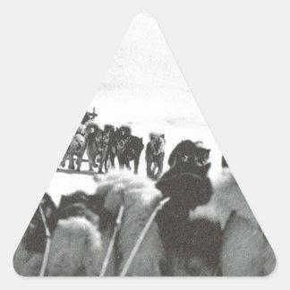 Vintage Greenland, arctic dog teams Triangle Sticker