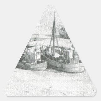 Vintage Greenland, Arctic Fishing Fleet Triangle Sticker