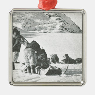 Vintage Greenland, out with the dogs Metal Ornament