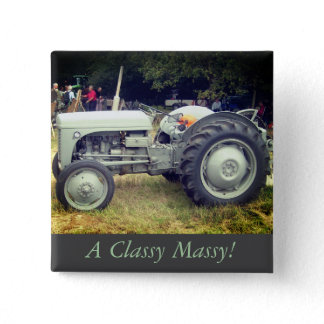 Vintage greeny Gray massey fergison tractor photo Button