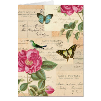 Vintage greeting card with roses and butterflies