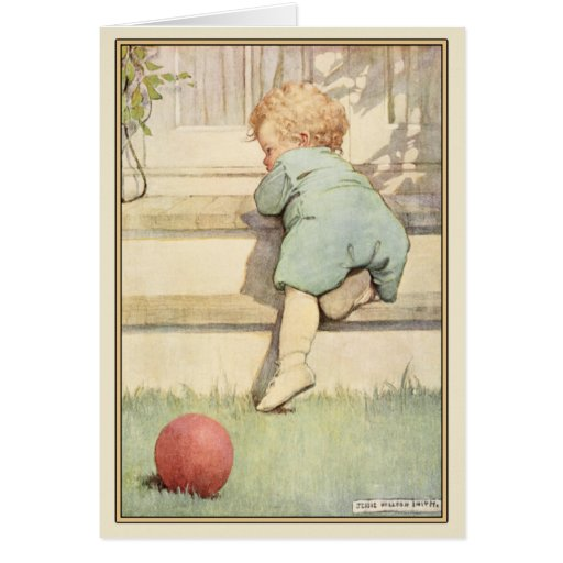 Vintage Greeting Card with Sweet Baby Illustration