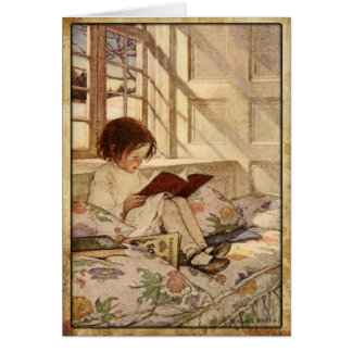 Vintage Greeting Card with Sweet Girl Reading