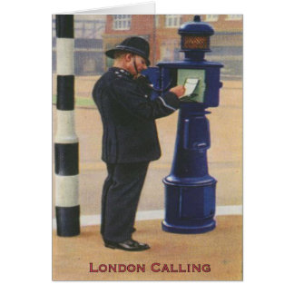 Vintage Greetingcard With London Police Calling Card