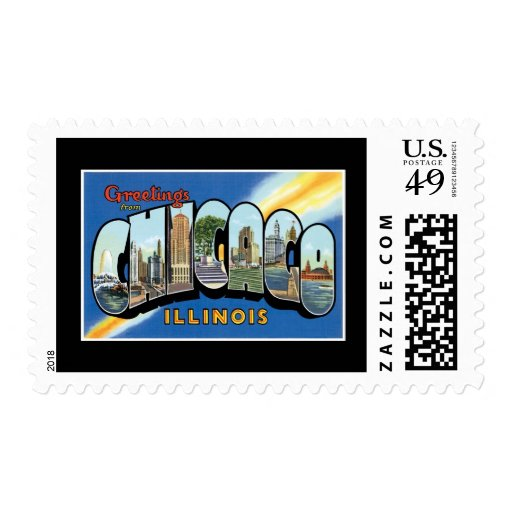 """Vintage """"greetings from Chicago Illinois"""" Stamp"""