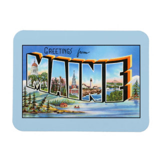Vintage greetings from Maine Rectangular Photo Magnet