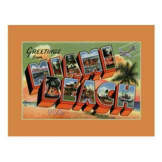 Vintage greetings from Miami Beach high resolution Postcard