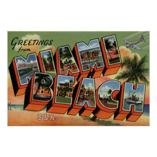 Vintage greetings from Miami Beach high resolution Poster