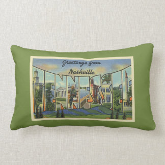 Vintage Greetings From Nashville Tennessee Lumbar Pillow