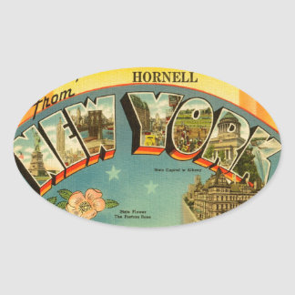 Vintage Greetings from New York Oval Sticker