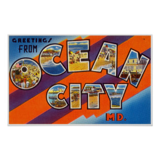 Vintage Greetings From Ocean City Maryland Poster