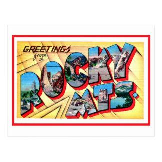 Vintage greetings from the Rocky Mountains Postcard