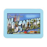 Vintage greetings from Wisconsin Rectangular Photo Magnet