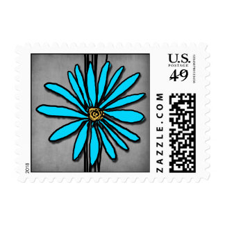 Vintage Grey and Blue Purple Daisy Postage Stamp