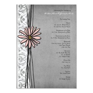 Vintage Grey and Pink Daisy Wedding Program 5x7 Paper Invitation Card