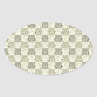 Vintage Grey Beige Embossed Pattern Oval Sticker