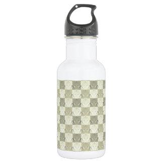 Vintage Grey Beige Embossed Pattern Stainless Steel Water Bottle
