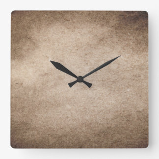 Vintage Grey Brown Paper Gray Parchment Background Square Wall Clock
