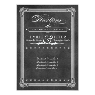 Vintage Grey Damask Poster Style Directions Card