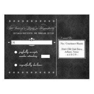 Vintage Grey Damask Poster Style RSVP Postcards
