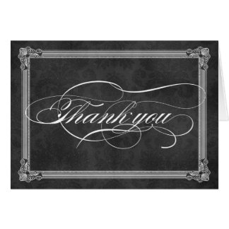 Vintage Grey Damask Poster Style Thank You Card