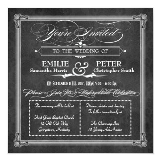 Vintage Grey Damask Poster Style Wedding 5.25x5.25 Square Paper Invitation Card