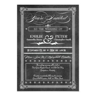 Vintage Grey Damask Poster Style Wedding 5x7 Paper Invitation Card