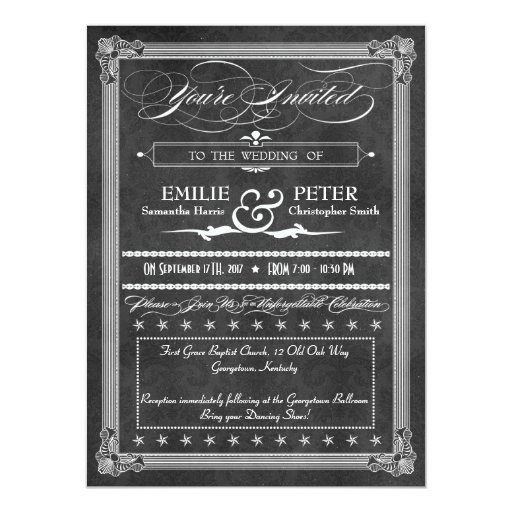Vintage Grey Damask Poster Style Wedding 5.5x7.5 Paper Invitation Card