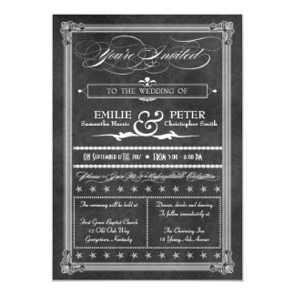 "Vintage Grey Damask Poster Style Wedding Invite 5"" X 7"" Invitation Card"