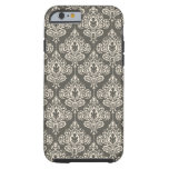 Vintage Grey Damask Tough iPhone 6 Case