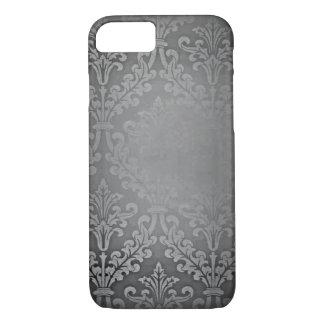 Vintage grey distressed damask pattern iPhone 7 case