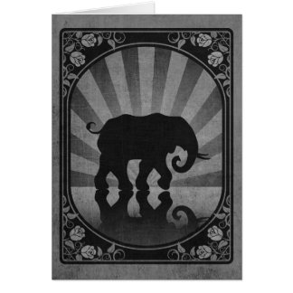 Vintage Grey Elephant Silhouette Poster Greeting Cards