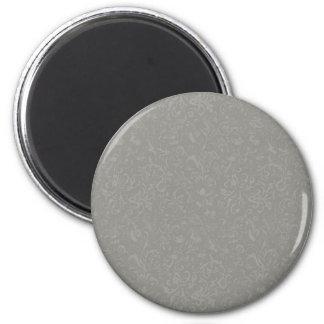 Vintage Grey Floral Damask 2 Inch Round Magnet