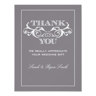 Vintage Grey Flourish Wedding Thank You Cards
