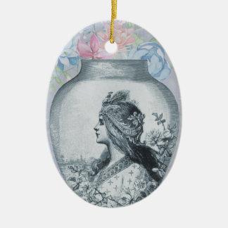Vintage Grey Flower Vase and Girl Profile Portrait Ceramic Ornament