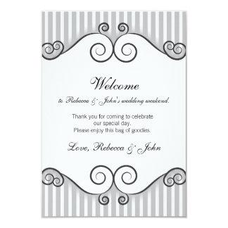 Vintage Grey Striped Wedding Welcome Card