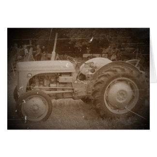 Vintage Grey tractor retro photograph Card