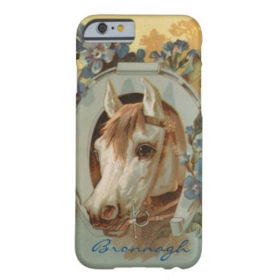 Vintage Grey White Horse Personalized Barely There iPhone 6 Case