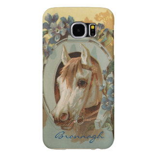 Vintage Grey White Horse Personalized Samsung Galaxy S6 Cases