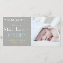 Vintage Grey/Yellow Birth Announcement Photocard