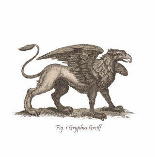 Vintage griffin (gryphus greiff) illustration. statuette