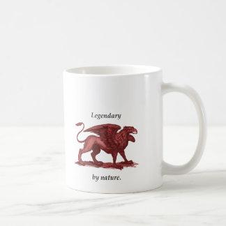 Vintage griffin illustration, legendary by nature coffee mug