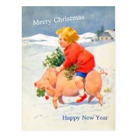 Vintage Gril on Pig Christmas New Year Image Card