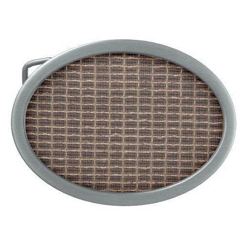 Vintage grill cloth oval belt buckles