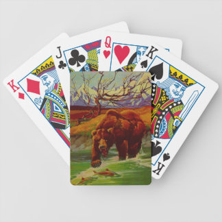 Vintage Grizzly Bear Fishing Go Fish Cabin Cards Bicycle Playing Cards