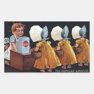 Vintage Groceries Rectangular Sticker