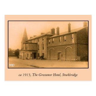 vintage Grosvenor Hotel, Stockbridge, classic car Postcard
