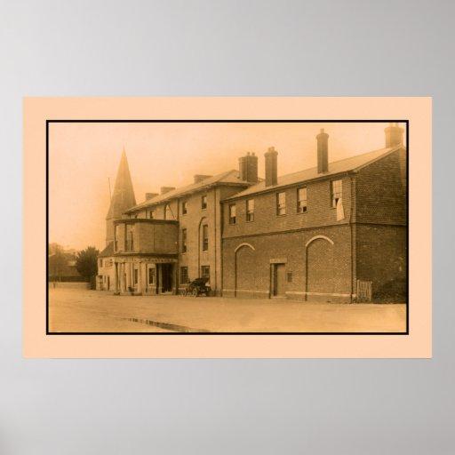 vintage Grosvenor Hotel, Stockbridge, classic car Posters