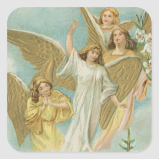 Vintage Group of Christmas Angels Sticker