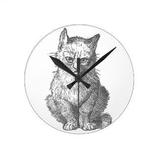Vintage Grumpy Cat Design Round Clock